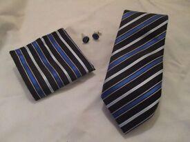 MENS tie, pocket square, cufflink set blue,silver,black striped pattern silk