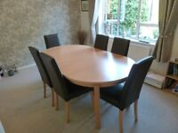 Beech Veneer Extending Dinning Table and 6 Leather Chairs