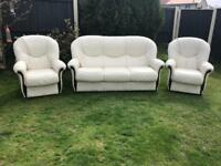 Like new Rossini Italian leather sofa suite can deliver