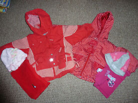 Baby girl winter coats 18-24 mths with hats and scarfs