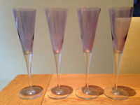 Set of Four Purple Tinted Champagne Flutes (used once for celebration)