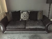 Black and Charcoal 4 Seater Sofa