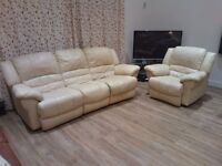 Cream Leather Recliner Suite - Sofa - Armchair - Chair - 2 Piece - Two Piece - Seat - Settee