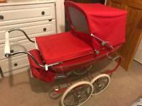 RED SILVER CROSS PRAM with matching bag