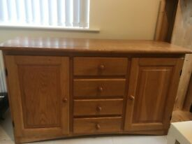 Solid oak sideboard with large storage space