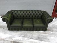 Chesterfield green leather sofa (delivery available)
