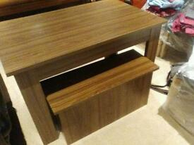 Dining table with storage benches