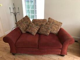 Red fabric 2 seater sofa