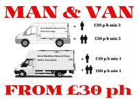 Man and Van FROM £30 ph Transit, £40 ph Luton, Deliveries Local & UK Wide Boxes Storage, Recommended
