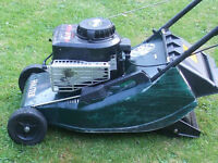 Hayter Hawk petrol push mower driven by Briggs and Stratton