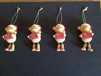4 x QUALITY TEDDY BEAR CHRISTMAS TREE ORNAMENTS / DECORATIONS