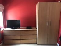 bedroom furniture - wardrobe, drawers, single bed and 2 mattresses