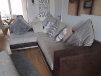 Corner sofa armchair and large footstool