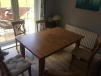 4 or 6 seat pine dining table