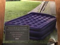 Tesco raised double air bed with built in pump. Never used, RRP £40