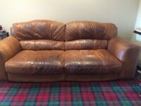 Luxurious and comfortable 3/4 seater brown leather sofa for sale - ONLY £200