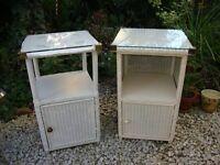 Two Vintage Lloyd Loom Bedside Cabinets.