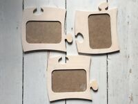 Set of 9 x lime-washed Danish jigsaw picture frames