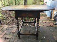 Oak drop flap table with barley twist legs