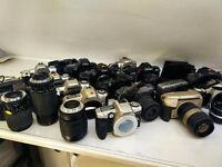 film camera job lot , pentax , nikon , canon , sigma , lenses , point and shoots and 35mm slr