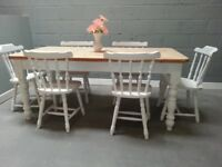 Country Style 6ft Shabby Chic table & chairs