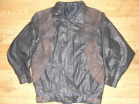 Black Brown Patterned Popper Fastening Natural Real Leather Jacket