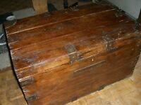 LARGE SOLID WOODEN TRUNK / CHEST / COFFEE TABLE / STORAGE - CLACTON