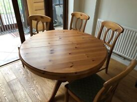 Extending Pine Table and Chairs