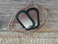 16 New Stainless Steel Military Double Dog Tags with silencers - 70cm chain.