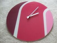 Pink Round Glass Wall Clock