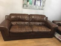 2 x large 3 seater brown leather DFS sofas for sale