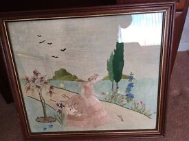 Tapestry picture - lady in pink dress with garden scene