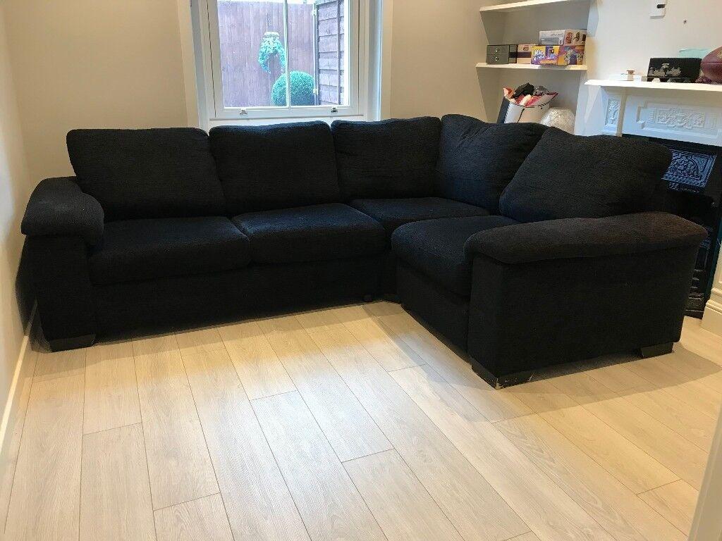 dfs l shaped corner black sofa bed for sale in wandsworth london gumtree. Black Bedroom Furniture Sets. Home Design Ideas