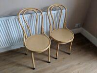 6 Yellow dinning bistro chairs