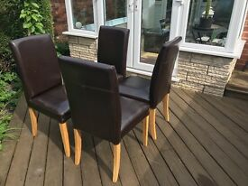 4 Brown Faux Leather IKEA Dining Chairs