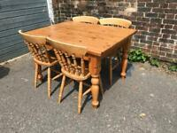 Lovely Farmhouse pine table and chairs