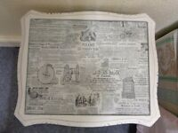 Bedside table, shabby-chic, gorgeous newspaper print under glass cover
