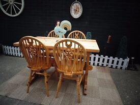 SOLID PINE FARMHOUSE DINING TABLE WITH 4 SOLID PINE FARMHOUSE CHAIRS VERY SOLID SET