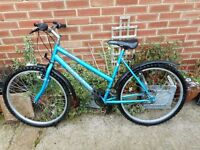 ladies blue concept 19 inch frame bike with lock