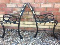 Vintage Cast Iron Bench Ends Garden Patio Seat Chair Ends