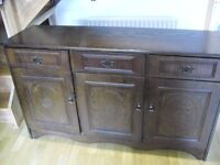 FREE Dark wood sideboard, 3drawer, 3cupboards. Good condition. Buyer collects