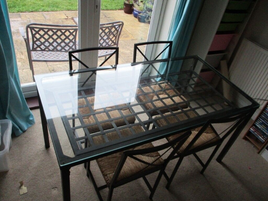 Pleasant Glass Top Ikea Granas Dining Table With Four Matching Chairs In Kesgrave Suffolk Gumtree Beutiful Home Inspiration Aditmahrainfo
