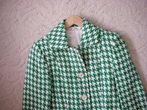 Women's Vintage Retro Style Kelly Green White Houndstooth Coat Windsor Region Ontario image 3