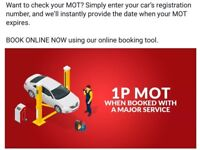 MOT 1p when you book MAJOR SERVICE LIMITED OFFER