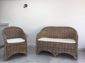High quality real wicker garden, patio, conservatory chairs with linen cushions