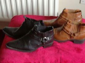 Tan pair and Black pair Mens Boots