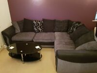 CORNER SOFA - Black and grey corner sofa. Good condition. COLLECTION ONLY