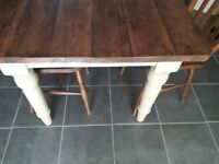 Farmhouse type table & six chairs