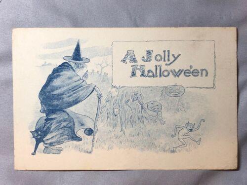 c 1910 Jolly HALLOWEEN JOL Witch GOBLINS Antique POSTCARD Samson Brothers