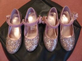 Lovely pink party sparkly party shoes with velvro strap - size 2